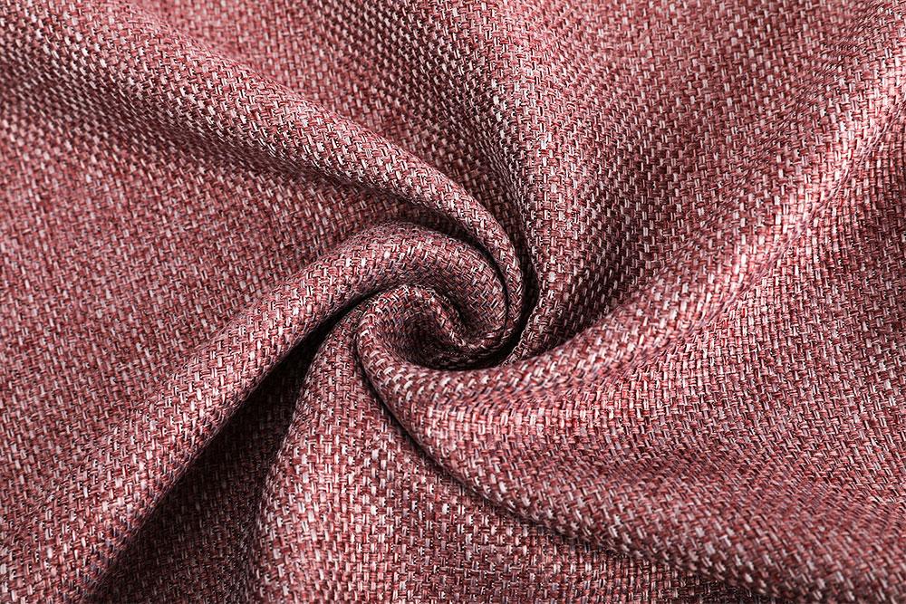 Inherently flame retardant hotel linen-like blackout curtain fabric