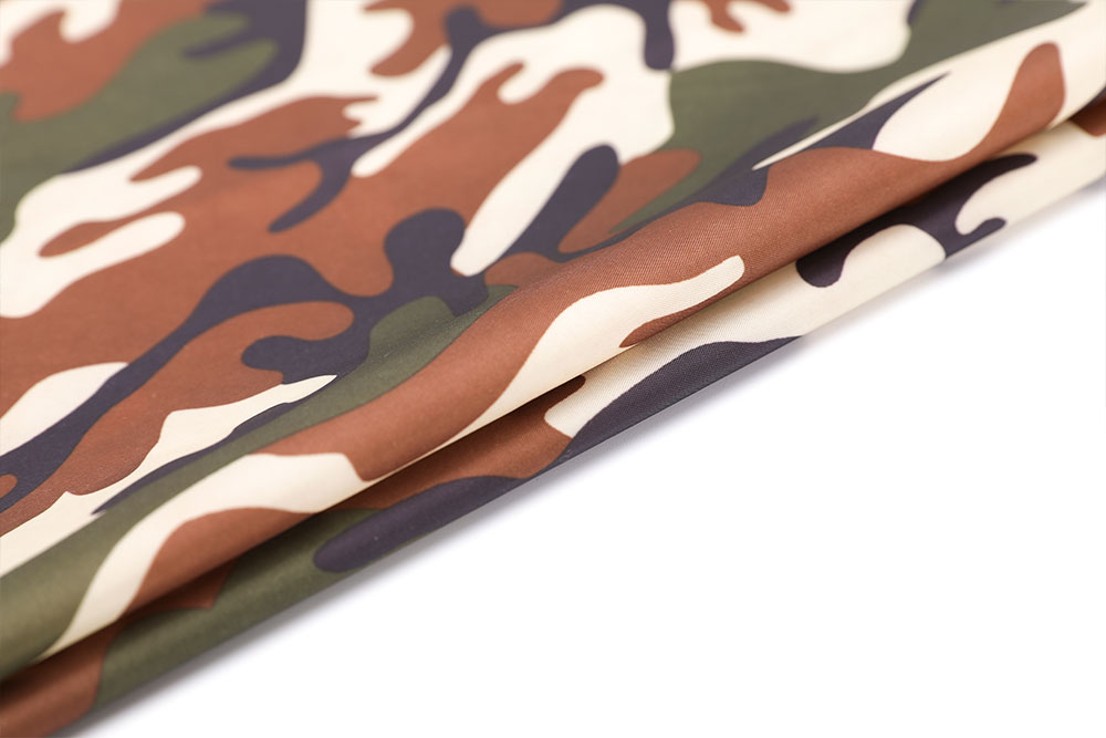 Camo printed 210T FR WR and anti-mosquito PU coated taffeta fabric for tent